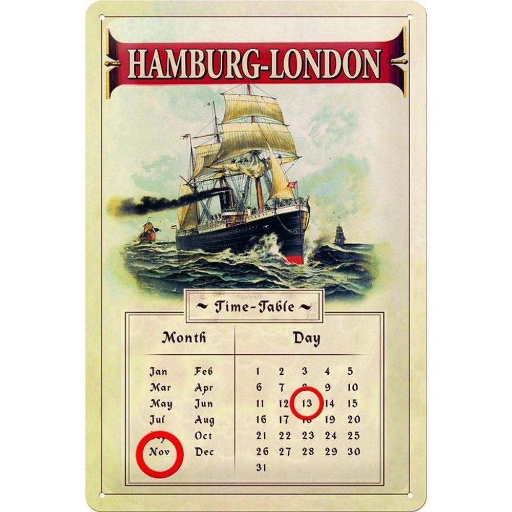 Calendar metalic Hamburg London 20x30cm