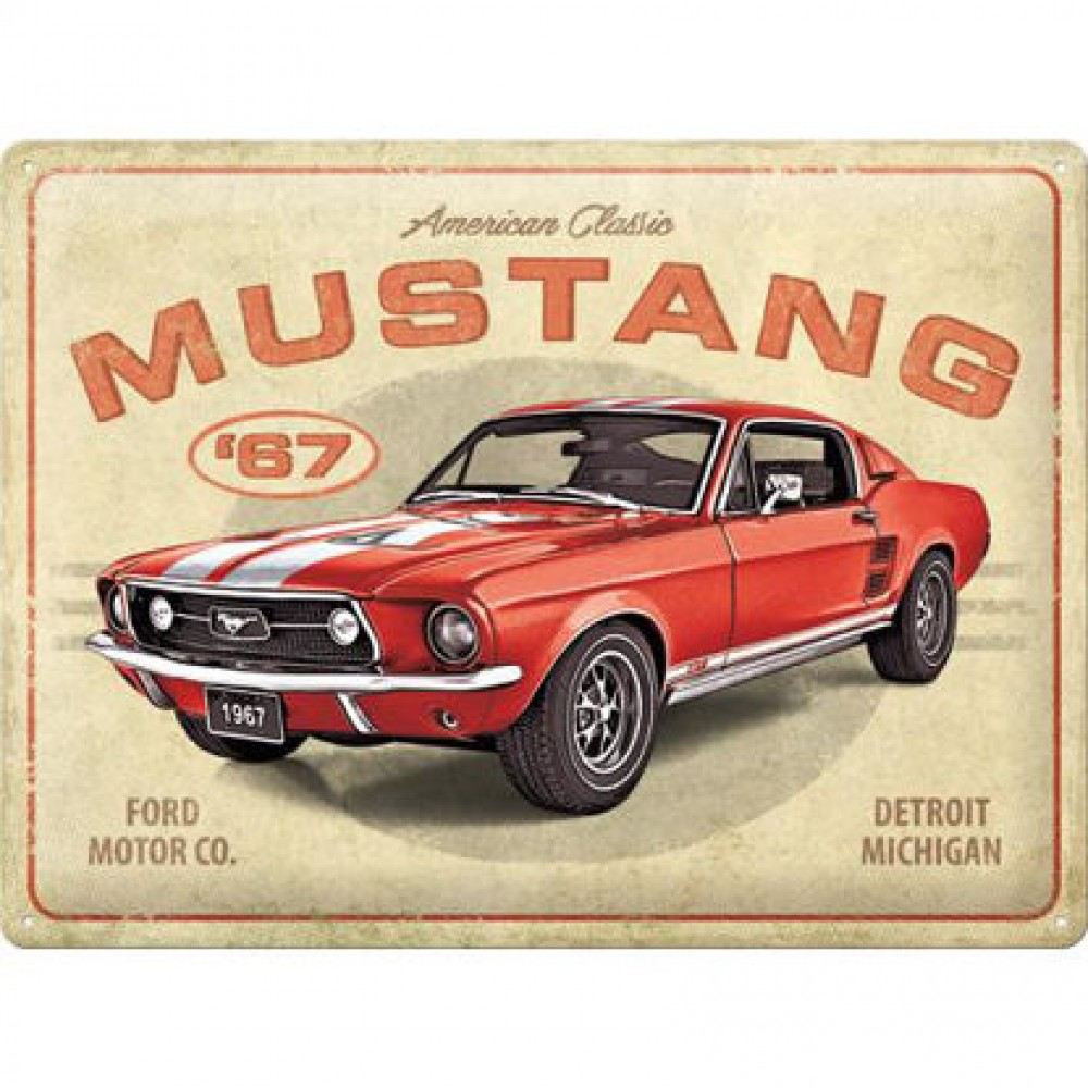 Placa metalica 30x40 Ford Mustang - GT 1967 Red