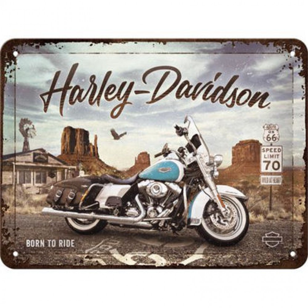Placa metalica 15x20 Harley-Davidson - Route 66 Road King Classic