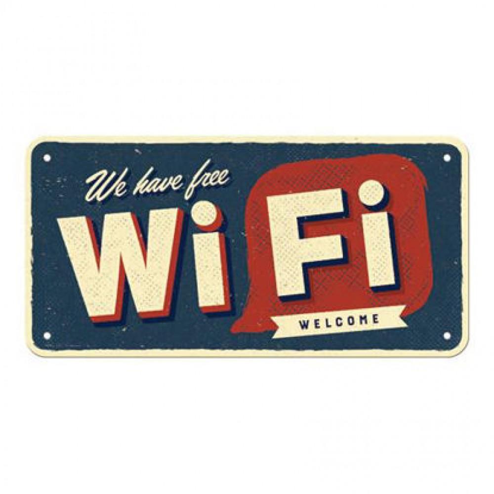 Placa metalica 10x20 Free Wi-Fi
