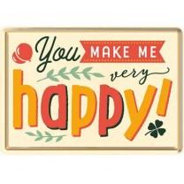 Placa metalica You make me Happy - 10x14cm
