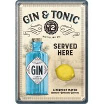 Placa metalica Gin & Tonic Served here - 10x14cm