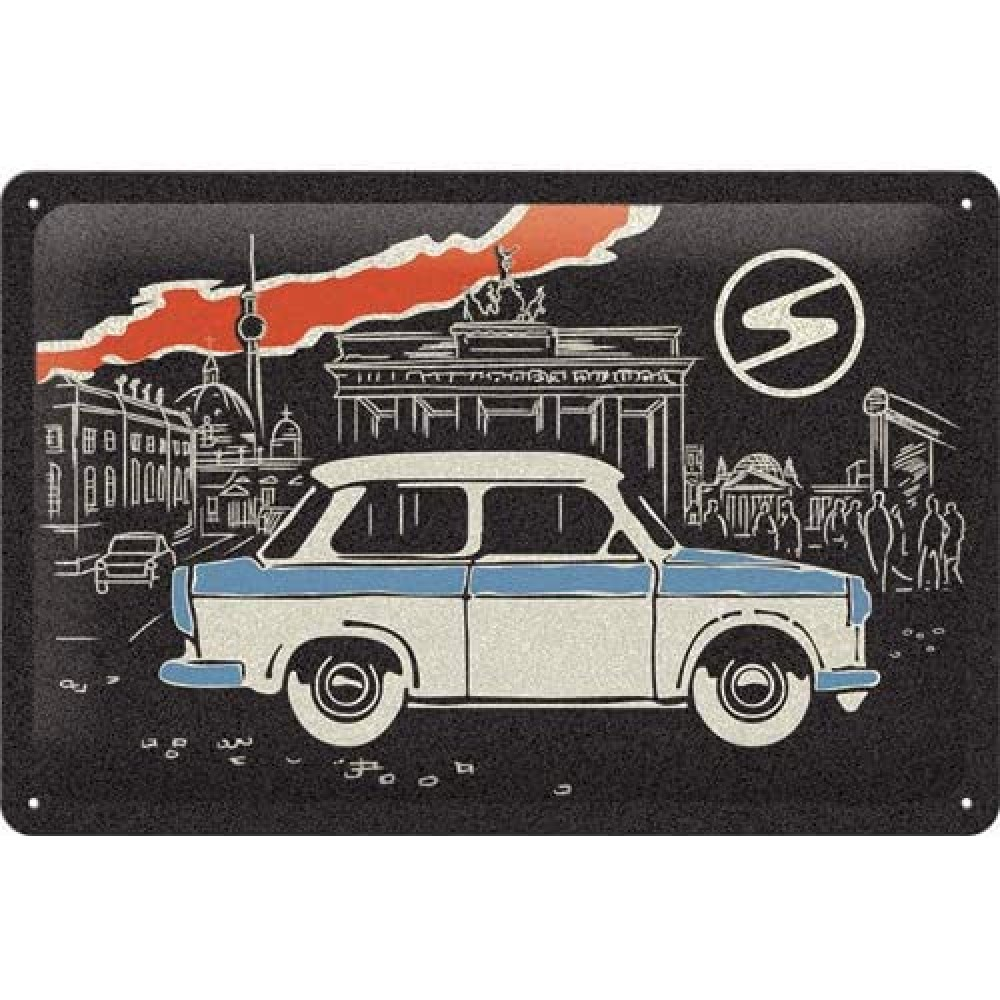 Placa metalica Trabant - Berlin Black - 20x30cm