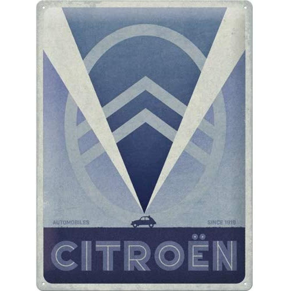 Placa metalica Citroen - 2CV Logo Blue 30x40cm