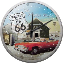 Ceas de perete - Route 66 Red Car - Ø31 cm