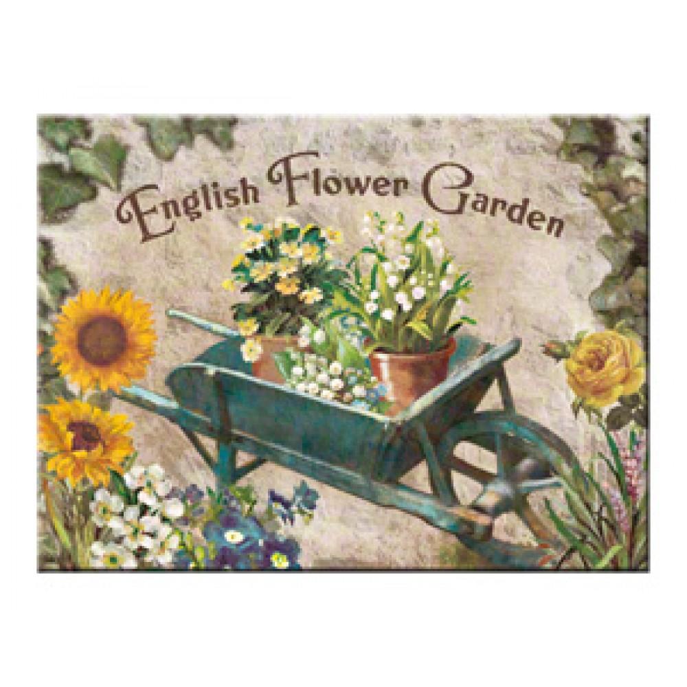 Magnet - Flower Garden Blue Barrow