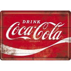 Placa metalica - Drink Coca Cola - 10x14 cm