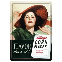 Placa metalica - Kellogg's - Flavor does it! - 10x14 cm
