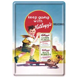 Placa metalica - Kellogg's - Keep Going - 10x14 cm