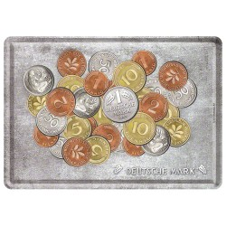 Placa metalica - Deutsche mark - Coins - 10x14 cm