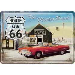 Placa metalica - Route 66 - The Mother Road - 10x14 cm