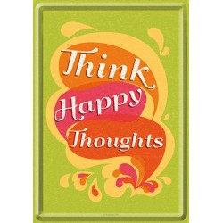 Placa metalica - Think Happy Thoughts - 10x14 cm