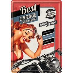 Placa metalica - Best Garage - Red - 10x14 cm - 10x14 cm
