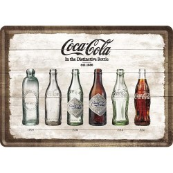 Placa metalica - Coca-Cola - Bottle Timeline - 10x14 cm