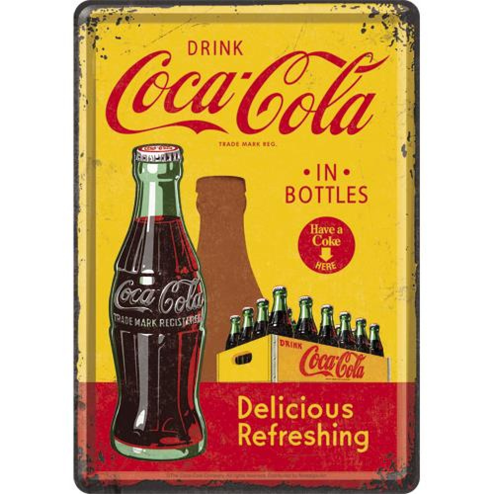 Placa metalica - Coca-Cola - In Bottles - 10x14 cm