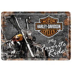 Placa metalica - Harley Davidson - My Favorite Ride - 10x14 cm