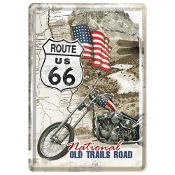 Placa metalica - Route 66 - National Old - 10x14 cm