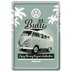 Placa metalica - VW Bulli - 10x14 cm