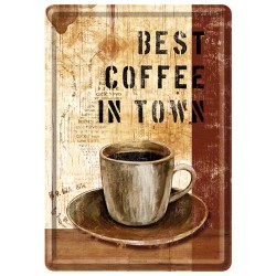 Placa metalica - Best Coffee in Town - 10x14 cm