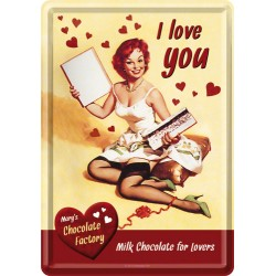 Placa metalica - I love you chocolate! - 10x14 cm