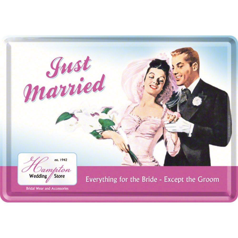 Placa metalica - Just Married - 10x14 cm