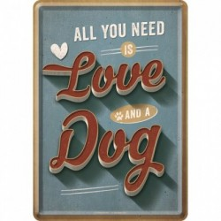Placa metalica - Love Dog - 10x14 cm