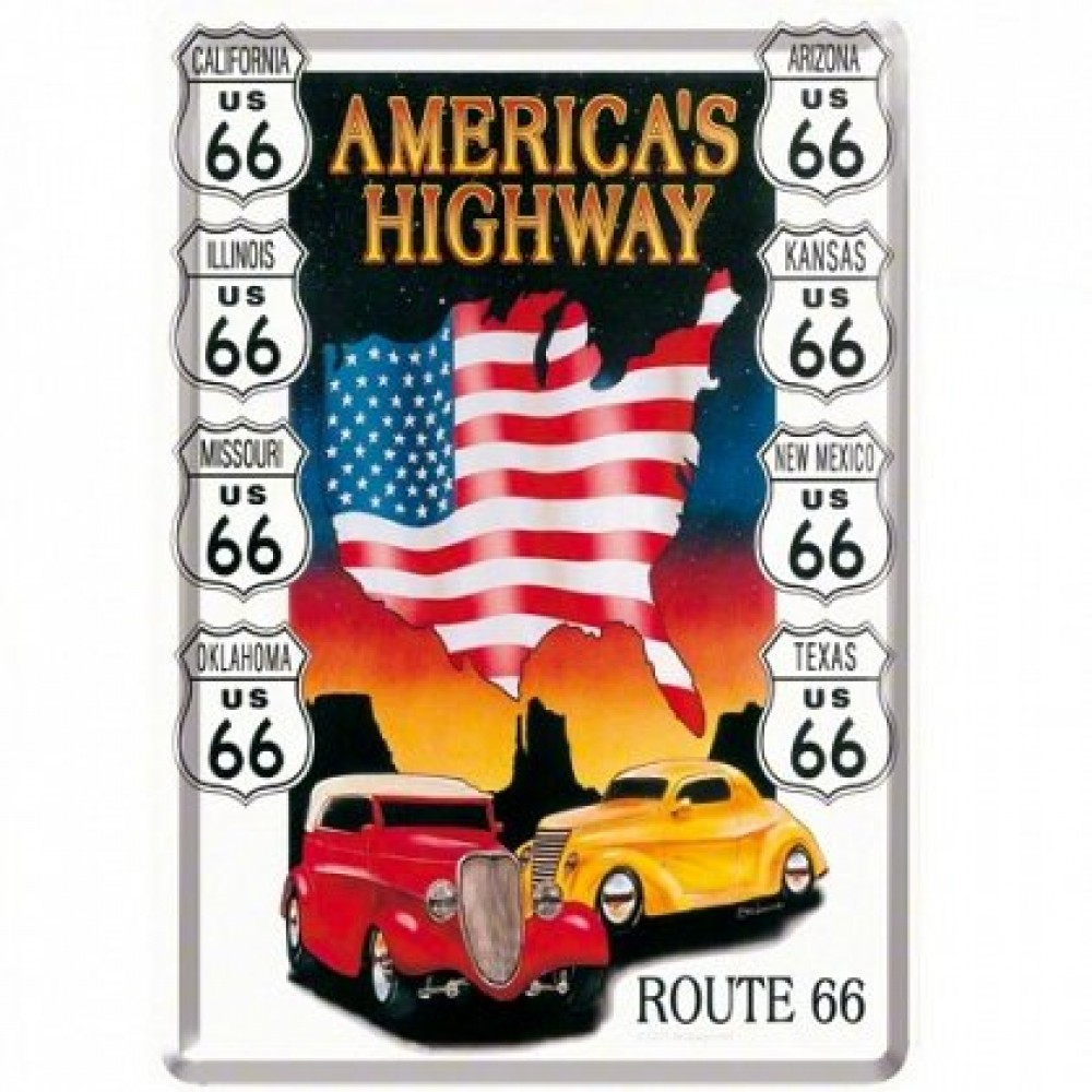 Placa metalica - America's Highways- 10x14 cm