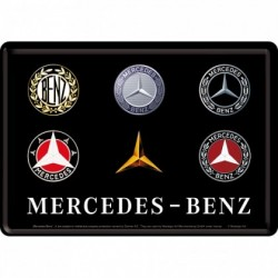 Placa metalica - Mercedes-Benz Logo Evolution- 10x14 cm