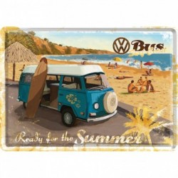 Placa metalica - Volkswagen - Ready for the summer - 10x14 cm