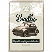 Placa metalica - VW Retro Beetle - 10x14 cm