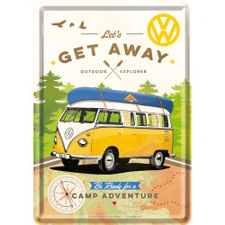 Placa metalica - VW - Get Away - 10x14 cm
