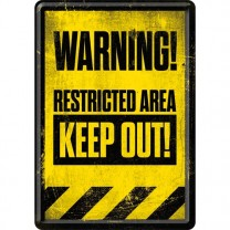 Placa metalica - Restricted Area - Keep Out - 10x14 cm