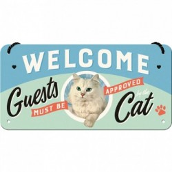 Placa metalica cu snur - Welcome Cat - 10x20 cm