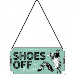 Placa metalica cu snur - Shoes Off - 10x20 cm