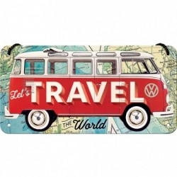 Placa metalica cu snur - Volkswagen Travel the World - 10x20 cm