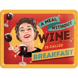 Placa metalica - A Meal Without Wine - 15x20 cm
