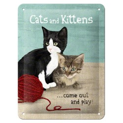 Placa metalica - Cats and Kittens - 15x20 cm