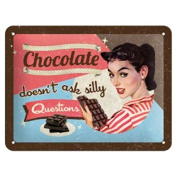 Placa metalica - Chocolate doesn't ask - 15x20 cm