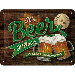 Placa metalica - Beer O'Clock - 15x20 cm