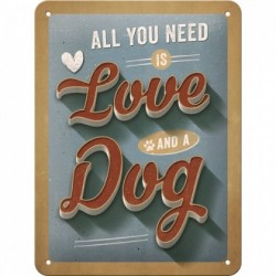 Placa metalica - Love Dog - 15x20 cm