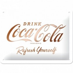 Placa metalica -  Coca-Cola - Logo White Refresh Yourself - 15x20 cm