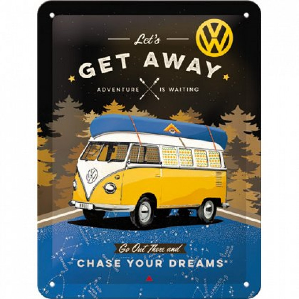Placa metalica - VW Bulli Let's Get Away - 15x20 cm