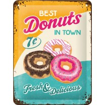 Placa metalica - Best Donuts in Town - 15x20 cm