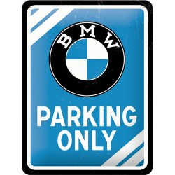 Placa metalica - BMW - Parking Only Blue - 15x20 cm