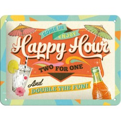 Placa metalica - Happy Hour XM - 15x20 cm