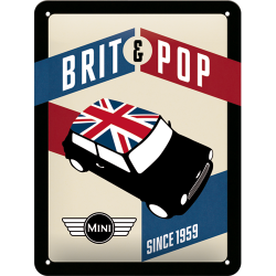 Placa metalica - Mini Cooper - Brit & Pop - 15x20 cm