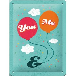 Placa metalica - You and Me - 15x20 cm