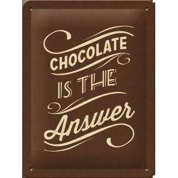 Placa metalica - Chocolate is the Answer - 15x20 cm