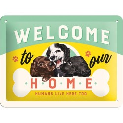 Placa metalica - Welcome to our Home - 15x20 cm
