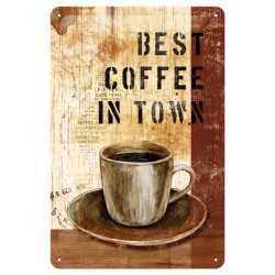 Placa metalica - Best coffee in town - 20x30 cm